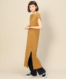 BY 棉質竹節棉開衩長版洋裝