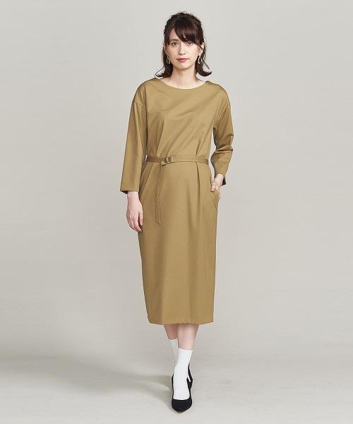 BY 羅馬布7分袖腰帶連身洋裝