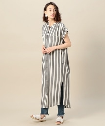 <KNOT SISTERS>條紋開衩長款洋裝