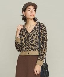 BY 豹紋緹花短版對襟外套