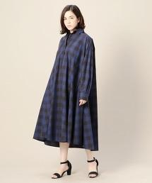 <dahl'ia>塊狀格紋襯衫洋裝