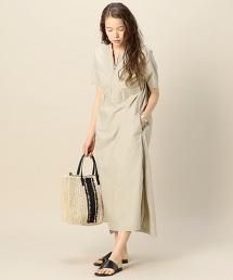 【特別訂製】<AMERICANA>拉鏈短袖洋裝/米色