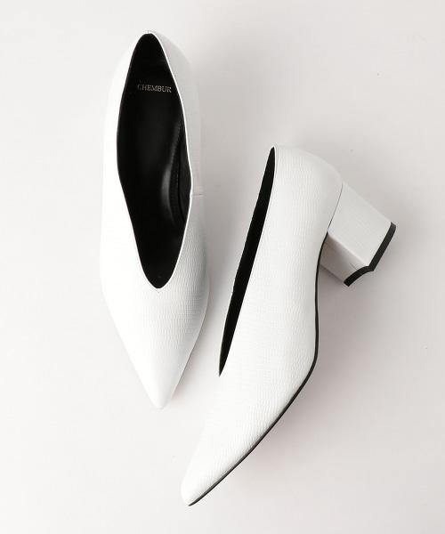 <CHEMBUR>V型PUMPS尖頭粗跟包鞋