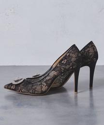 特別訂製<PIPPICHIC>蕾絲/寶石尖頭高跟PUMPS包鞋