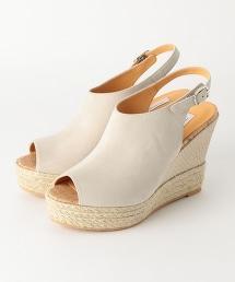 □UWCE 雙色調厚底楔形涼鞋