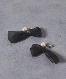 <petite robe noire> 棉珍珠蝴蝶結耳釘■■■