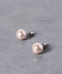 <petite robe noire> 12mm粉色棉珍珠耳釘 PINK■■■