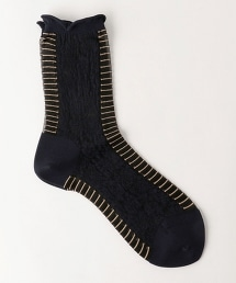 <ANTIPAST>NIGHTS DREAM 邊緣條紋短襪