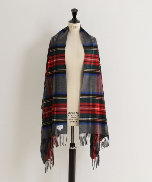 <JOHNSTONS>喀什米爾羊毛格紋圍巾190×70†