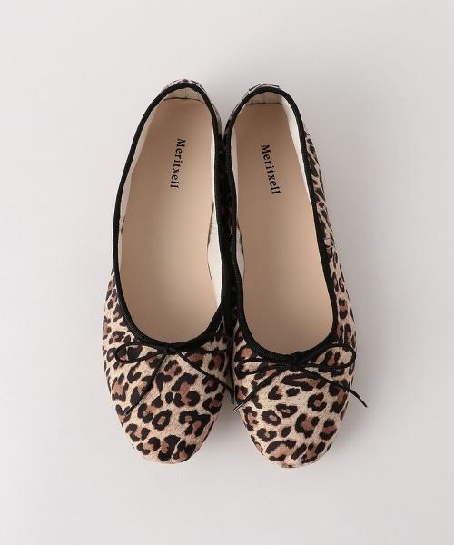 <MERITXELL>豹紋皮革芭蕾舞鞋