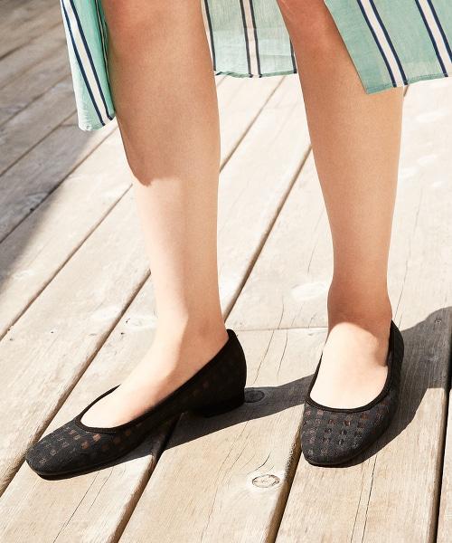 BY 網眼格紋方頭平底包鞋1.5