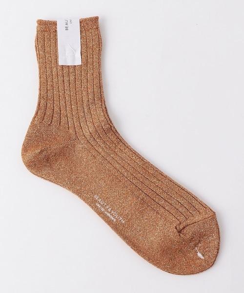 BY 亮絲線羅紋短襪