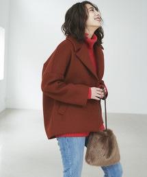 ◆FM 寬版尺寸 翻領短大衣