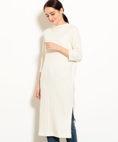 NFC 隨機直條紋 針織 7分袖 洋裝