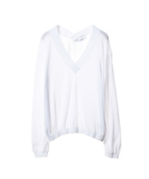 ASTRAET 18G V領 衣襬褶皺針織套頭上衣