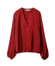 ASTRAET 衣襬褶皺V領上衣