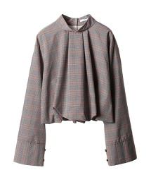 ASTRAET 格紋 蓬鬆袖 罩衫