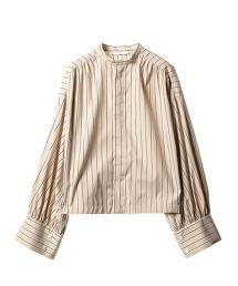 ASTRAET 直條紋  皺褶 蓬鬆袖 襯衫