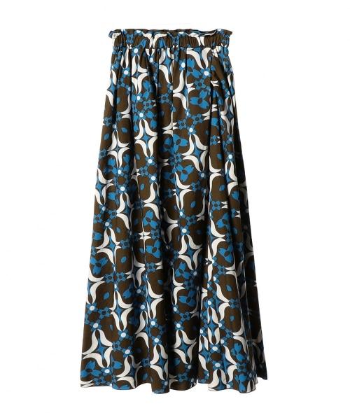 ASTRAET 幾何學印刷 皺褶 荷葉裙