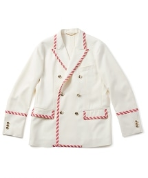 UNITED ARROWS & SONS WHT DB BREASTED BLAZER 鑲邊白色雙排釦休閒外套