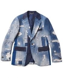 UNITED ARROWS & SONS P-JACKET 西裝領刷破丹寧外套