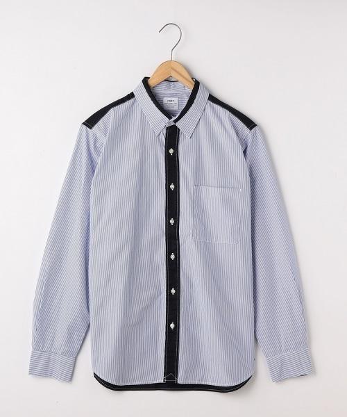 條紋×法蘭絨拼接標準領襯衫