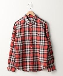 棉麻格紋釦領襯衫