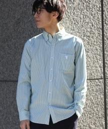 高密度平織(Typewriter cloth)條紋扣領襯衫
