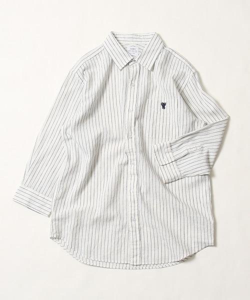棉麻直條紋七分袖標準領襯衫