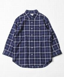 綿麻格紋七分袖標準領襯衫