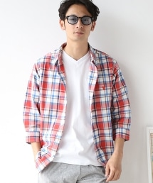 粗紡格紋七分袖襯衫