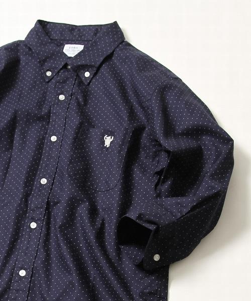 牛津布七分袖圓點印刷襯衫