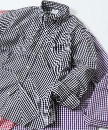 微起毛細格紋扣領襯衫