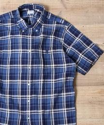棉麻格紋扣領短袖襯衫