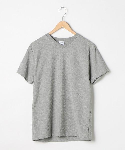 粗針緹花編織V領T恤