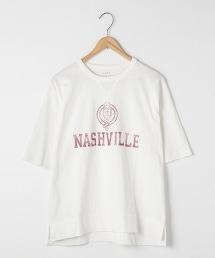 三角接片粗紡5分袖印刷T恤