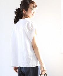 法國亞麻抽褶袖襯衫