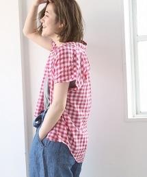 缩褶細格紋襯衫