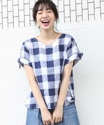 法國亞麻方格紋蝴蝶結袖襯衫