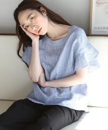 法國亞麻荷葉袖襯衫