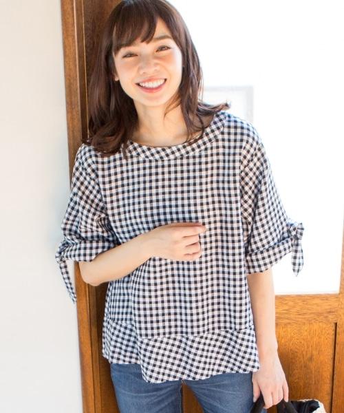 法國亞麻蝴蝶結袖2WAY襯衫