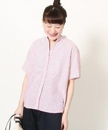 綿麻直條紋立領襯衫