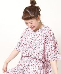 棉質色丁布小碎花襯衫(印花套頭衫)