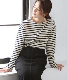 天竺棉橫條紋船領套衫