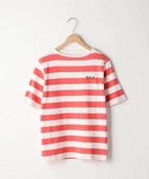 起毛竹節棉橫條紋T恤