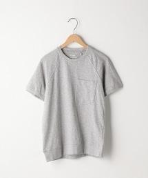起毛竹節棉牛角袖口袋T恤