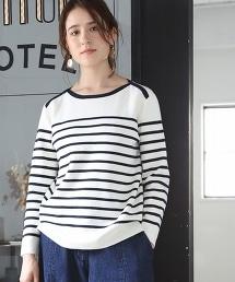 米蘭羅紋橫條紋船領針織衫