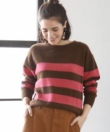 【可手洗】羔羊毛圓領橫條紋毛衣