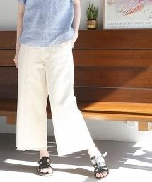 USA棉質不修邊丹寧寬褲(乳白色)