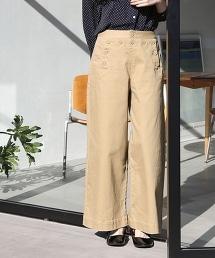 彈性海軍風後身綁帶寬褲